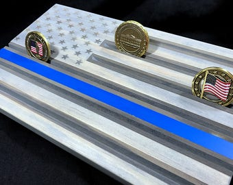 Thin Blue Line Challenge Coin Display Gray - Wood Flag Thin Blue Line - Challenge Coin Display Holder - Police Coin Display - Customizable -