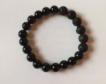Obsidian and lava bead, essential oil diffuser bracelet