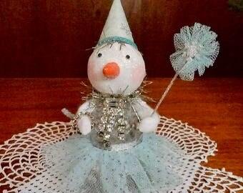 Salt Shaker Snowman, Handmade Snowman, Handmade Decoration, Paper Clay Head, Upcycled Salt Shaker, Paper Clay Snowman, Altered Salt Shaker