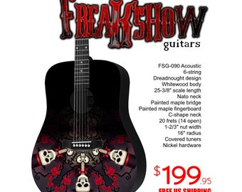 Graphic Acoustic Guitar DEAD Design by FreakshowGuitars - FREE SHIPPING