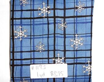 Fabric - 1yd piece-Christmas/Xmas/Winter-Debbie Mumm/Snowflake/Snowflakes Blue and Black Plaid on Denim Blue colored background (#1193)