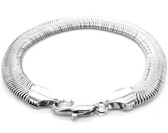 Sterling silver snake chain bracelet, Genuine 925 sterling silver bracelet, Thin light silver snake chain, Black jewelry box purple gift bag