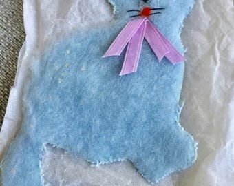 Appliqué vintage blue cat. 1960's