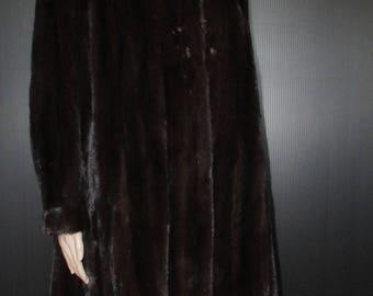 Vtg  très joli manteau de véritable fourrure de vison brun noir/superbe  brown black real mink fur coat  sz large bust 46