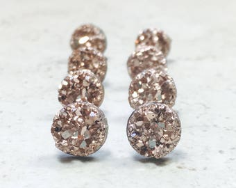 Set of 8 Bridesmaids Earrings, Tiny Rose Gold Faux Druzy Earrings, Small 8mm Round Studs with Gift Boxes
