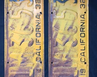Pair 1932 California License Plate 1M3653