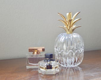 Crystal and Brass Pineapple Box