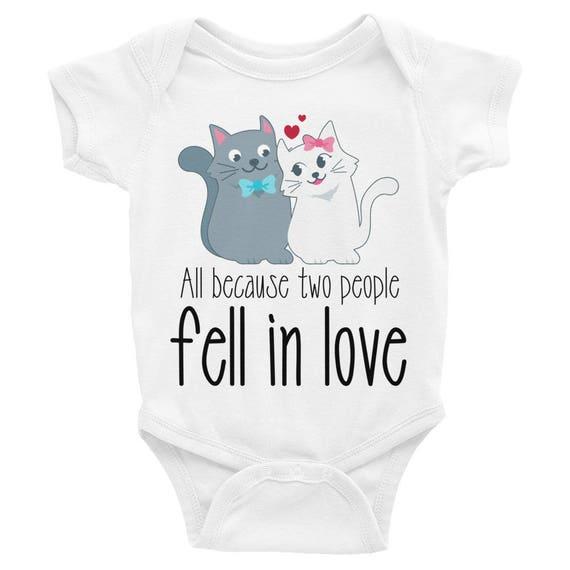 All Because 2 People Fell In Love Bodysuit, Cute Baby Onesie, Funny Baby Onesie, newborn gift infant clothes, Baby clothes cute baby onesies