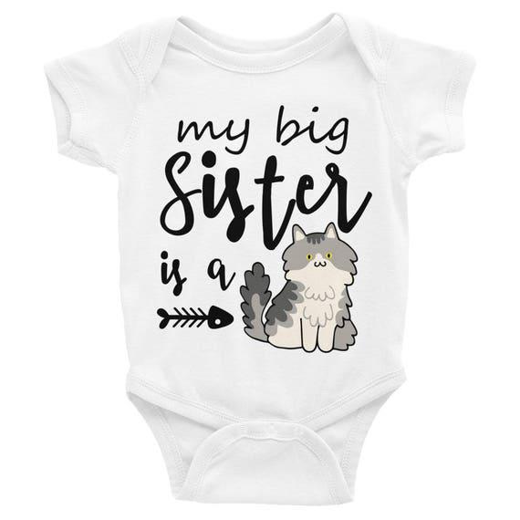 Funny Baby Onesie, Little Sister Onesie, My Big Sister is a Cat, Funny Baby Clothes, Funny Baby Shirts, Baby Onesie, Funny Onesie