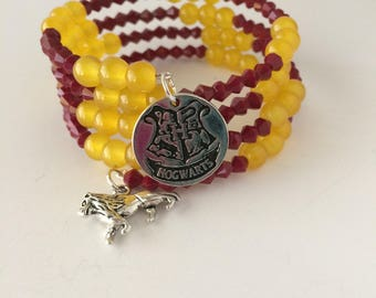 Gryffindor Bracelet, Gryffindor House Bracelet, Harry Potter Bracelet, Harry Potter Jewelry, Gryffindor Jewelry, Lion Bracelet, Harry Potter