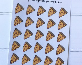 Hand Drawn Pizza Planner Stickers - Veggie or Pepperoni
