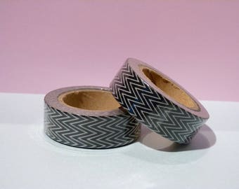 Washi tape Masking Tape thin black Chevron - Christmas gift - packaging - decoration - wedding