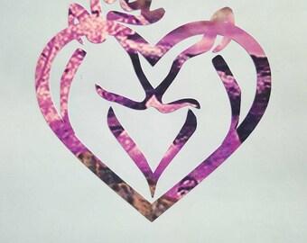 Buck and Doe Heart in Purple Camo