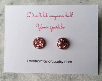 Rose pink glitter earrings, pink glitter studs, confetti earrings, resin earrings, glitter earrings, post earrings, earring gift, gift.