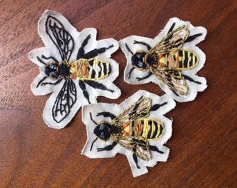 Hand Embroidered Bee Patch