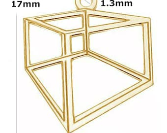 24K Gold Plated Sterling Silver 17mm Hexagon Charm