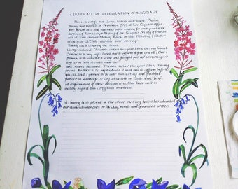 Quaker Celebration of Marriage Certificate