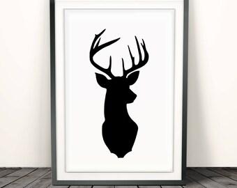 Deer head print, deer antler print, deer head decor, antler,black and white wall art, modern wall art prints, minimalist poster,decor prints