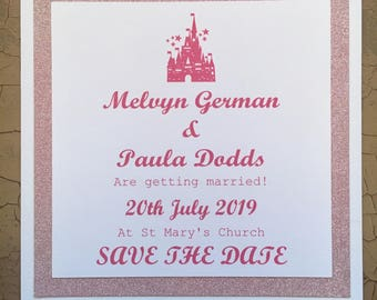 Disney inspired save the date, pink glitter x25 plus envelopes