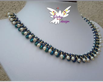 Necklace swarovski crystal round Pearl drops and pearlescent white blue gold Rhodes