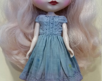 Blythe dress – blue / lavender  -  hand dyed