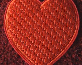 Beautiful Machine Embroidered Valentine Heart Coaster