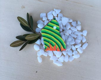 Hand Painted Green and Orange Rock Pin