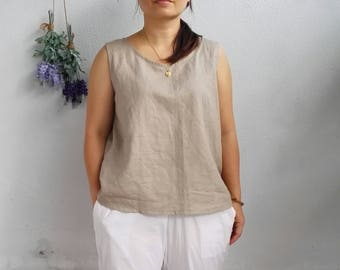 SAMPLE SALE 30% - Basic Linen Tank Top, Fit Size S/M in Natural