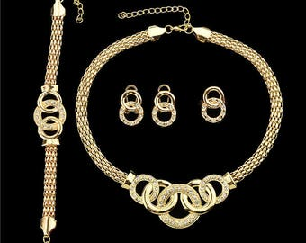 Gold Plated with White Rhinestone Contained Necklace Earring Bracelet And Ring