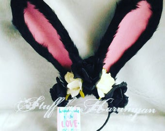 Lolita Black and White Rose Bunny Ears