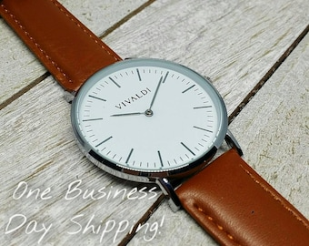 Simple Casual Brown Leather Watch, Men's Watch, For Him, Women's Watch, For Her, Classy Watch, Valentine Day Gift, Wrist Watch, Wedding Gift