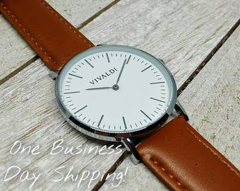 Simple Casual Brown Leather Watch, Men's Watch, For Him, Women's Watch, For Her, Classy Watch, Gift For Friends, Wrist Watch, Wedding Gift