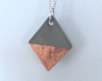 Concrete diamond pendant necklace