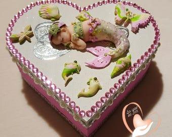 Newborn Mermaid pink and white box