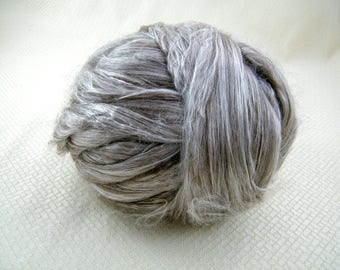Yak Silk Blend - 50/50 - Ultimate Luxury  - Brown and Silver - Great for Spindles, Handspinning & Felting
