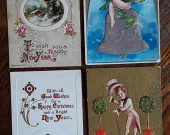4 Beautiful Antique New Years Greetings Postcards Embossed Victorian Angel Cherub Child Winsch