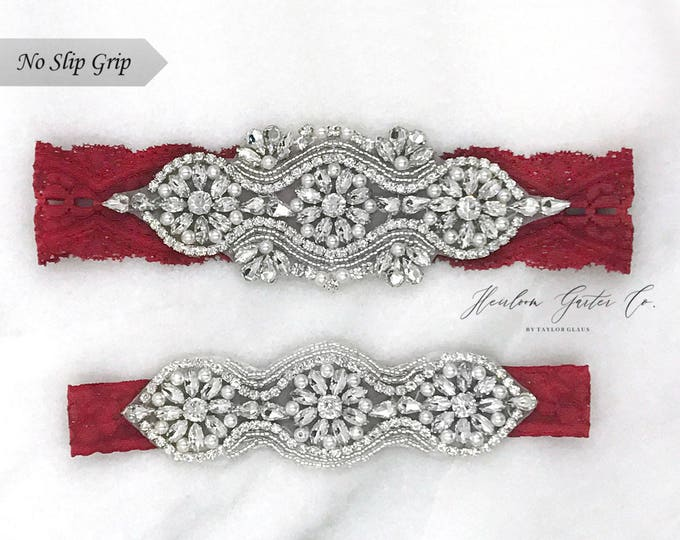 Red Wedding Garter, NO SLIP Lace Wedding Garter Set, bridal garter set, vintage rhinestones