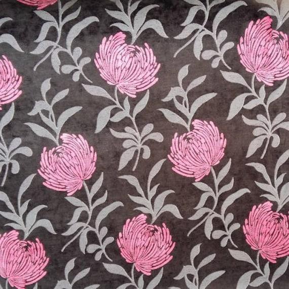 tissu dalhia tissu velours chenill tissu noir et rose. Black Bedroom Furniture Sets. Home Design Ideas