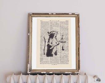 Print BANKSY rat antique book page - portrait