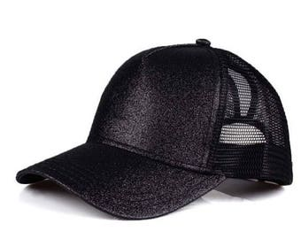 CC Black Glitter Ponytail Cap - Pony Tail Hat