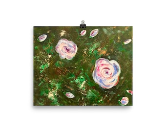 Flowers Abstract Painting | Premium Luster Photo Paper Poster | Print | Wall Art |