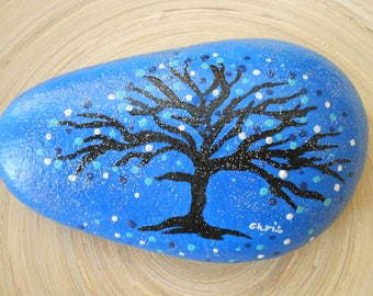 Hand Painted Stones,Home Decor,Painted Rock, Pebble,Acrylic, Tree of Life, blue