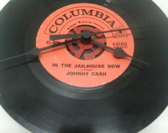 Johnny Cash 45 Record Clock - In the Jailhouse Now