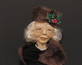 Miss Edna in Mink, OOAK Art Bust, Handmade Art Bust, by Sherry Harrison