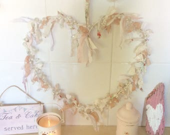 Shabbychic Heart Rag Wreath / Door Hanger / Heart Decoration Bead detail / Vintage lace and Fabric Floral Fabric
