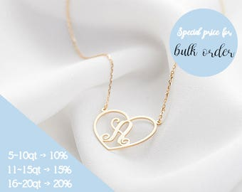 Monogram Necklace, Initial Necklace, Monogram Jewelry, Custom Monogram Necklace, Initial Necklace in Rose gold, Silver, Gold