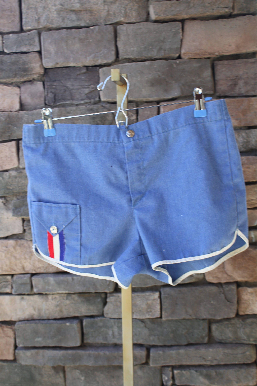 93da8c0066 Stubbies Shorts/ Vintage 70s Deadstock Board Swim Trunks/ Retro Style Track  Athletic Casual White