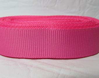 "Grosgrain ribbon 1"" Wild Rose (pink) sold by the yard"