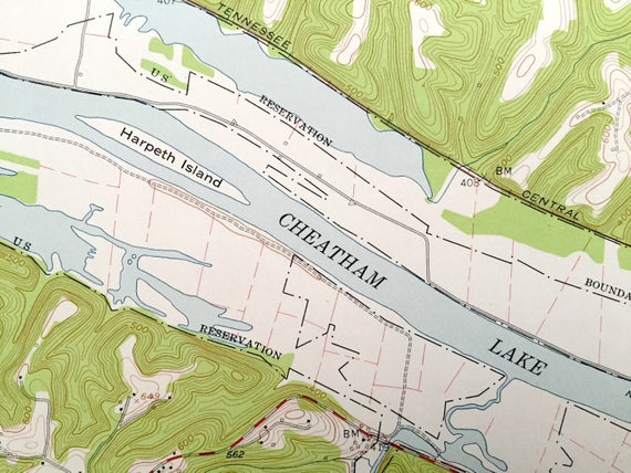 Antique Ashland City Tennessee US Geological Survey - Cumberland river on us map