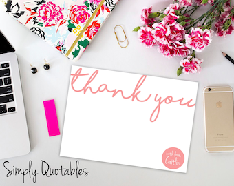 Custom Printable Thank You Notecards